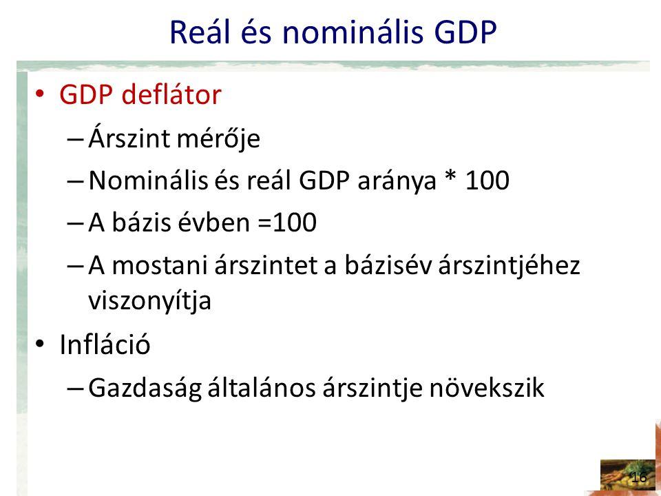Reál és nominális GDP • GDP deflátor – Árszint mérője – Nominális és reál GDP aránya * 100 – A bázis évben =100 – A mostani árszintet a bázisév árszintjéhez viszonyítja • Infláció – Gazdaság általános árszintje növekszik 16