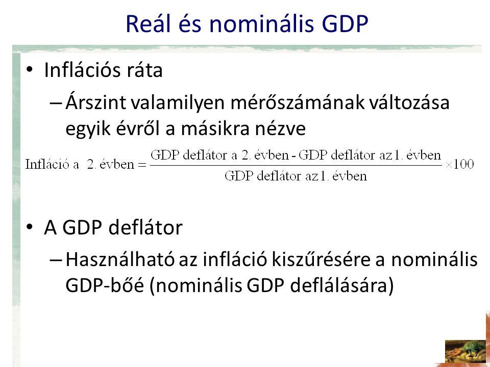 Reál és nominális GDP • Inflációs ráta – Árszint valamilyen mérőszámának változása egyik évről a másikra nézve • A GDP deflátor – Használható az infláció kiszűrésére a nominális GDP-bőé (nominális GDP deflálására) 17