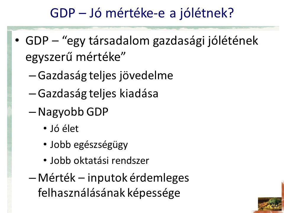 """GDP – Jó mértéke-e a jólétnek? • GDP – """"egy társadalom gazdasági jólétének egyszerű mértéke"""" – Gazdaság teljes jövedelme – Gazdaság teljes kiadása – N"""