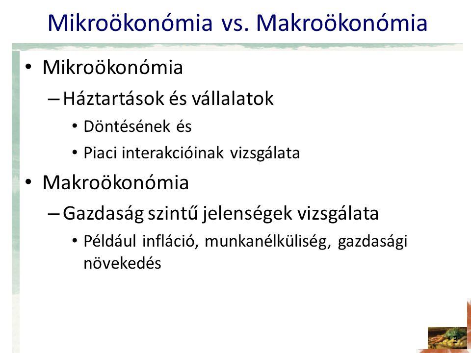 Mikroökonómia vs. Makroökonómia • Mikroökonómia – Háztartások és vállalatok • Döntésének és • Piaci interakcióinak vizsgálata • Makroökonómia – Gazdas