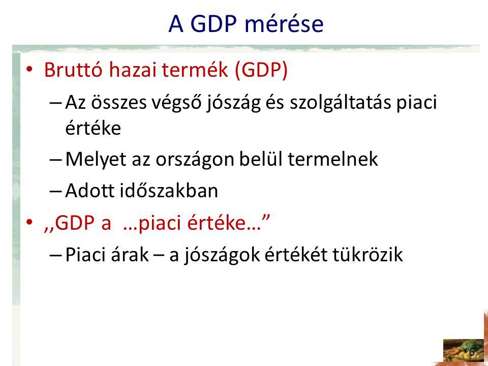 A GDP mérése • Bruttó hazai termék (GDP) – Az összes végső jószág és szolgáltatás piaci értéke – Melyet az országon belül termelnek – Adott időszakban •,,GDP a …piaci értéke… – Piaci árak – a jószágok értékét tükrözik 6