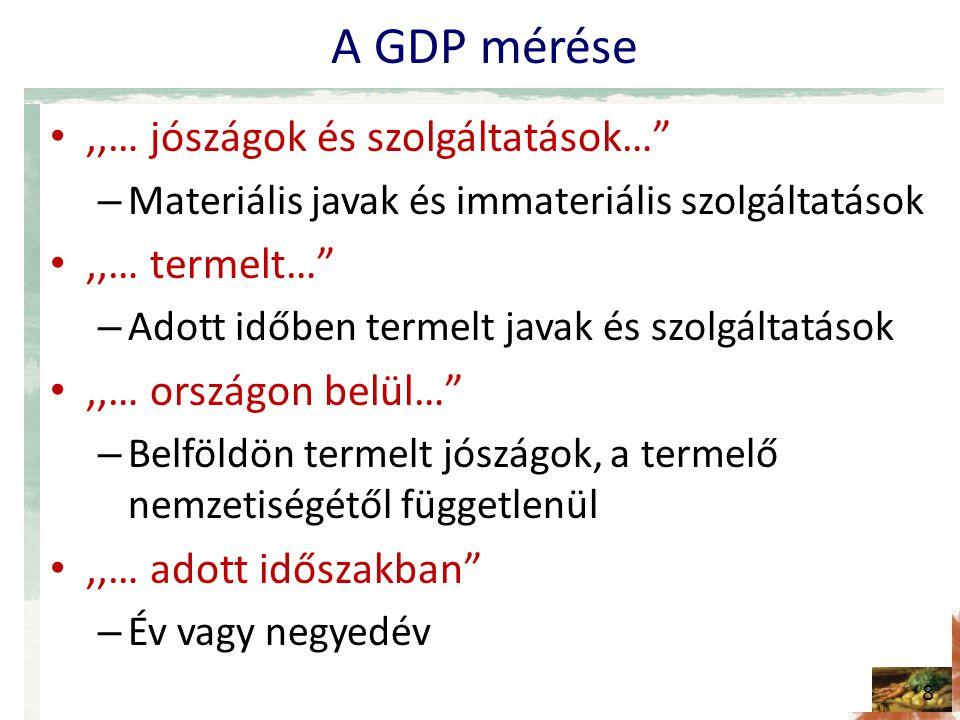 A GDP mérése •,,… jószágok és szolgáltatások… – Materiális javak és immateriális szolgáltatások •,,… termelt… – Adott időben termelt javak és szolgáltatások •,,… országon belül… – Belföldön termelt jószágok, a termelő nemzetiségétől függetlenül •,,… adott időszakban – Év vagy negyedév 8