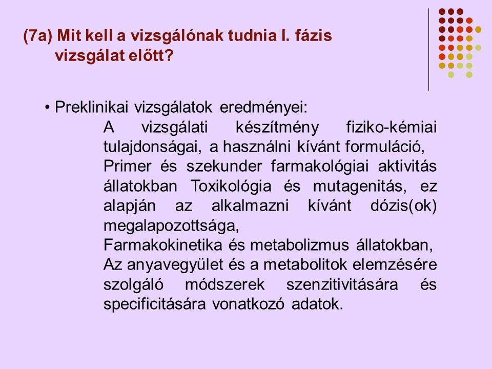 (7a) Mit kell a vizsgálónak tudnia I.fázis vizsgálat előtt.