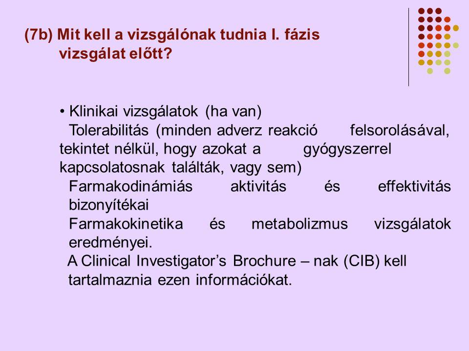 (7b) Mit kell a vizsgálónak tudnia I.fázis vizsgálat előtt.