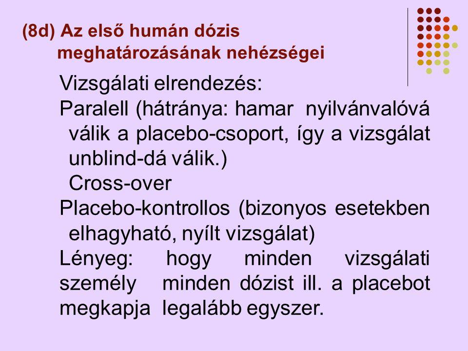 (8d) Az első humán dózis meghatározásának nehézségei Vizsgálati elrendezés: Paralell (hátránya: hamar nyilvánvalóvá válik a placebo-csoport, így a vizsgálat unblind-dá válik.) Cross-over Placebo-kontrollos (bizonyos esetekben elhagyható, nyílt vizsgálat) Lényeg: hogy minden vizsgálati személy minden dózist ill.
