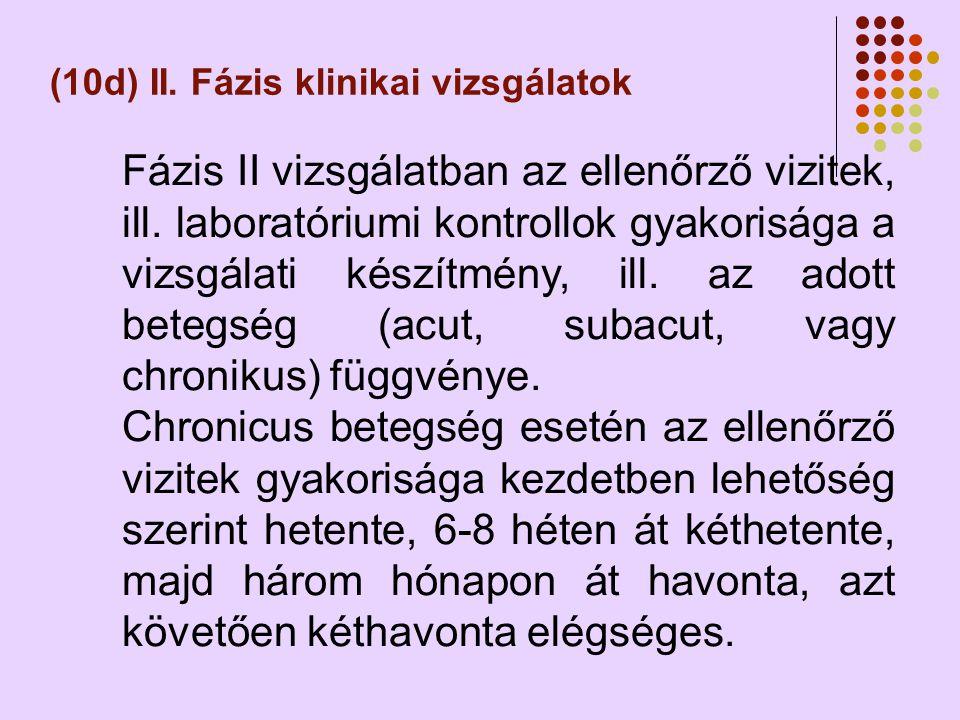 (10d) II.Fázis klinikai vizsgálatok Fázis II vizsgálatban az ellenőrző vizitek, ill.