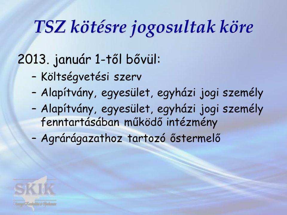 TSZ kötésre jogosultak köre 2013.