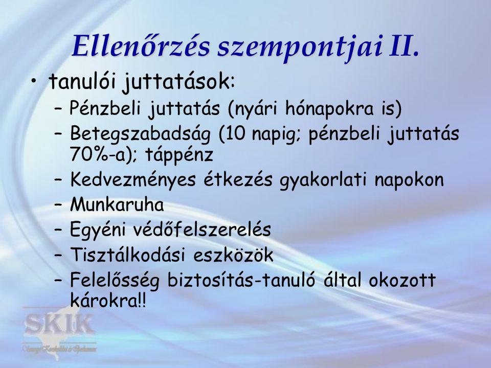 Ellenőrzés szempontjai II.