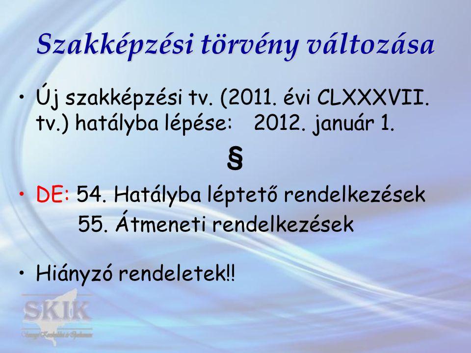 Szakképzési törvény változása •Új szakképzési tv.(2011.