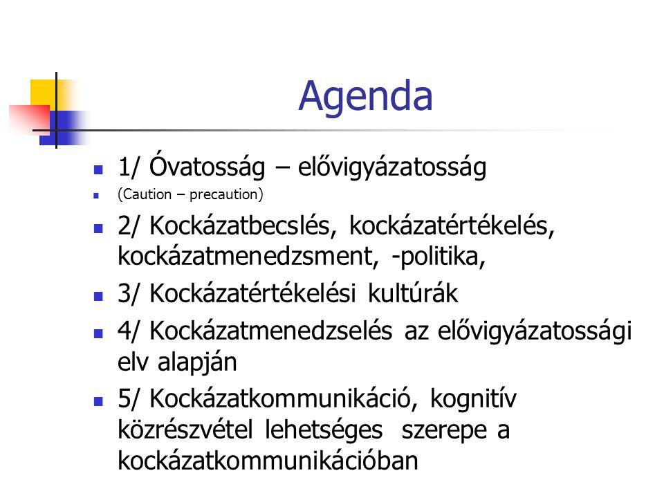 Agenda  1/ Óvatosság – elővigyázatosság  (Caution – precaution)  2/ Kockázatbecslés, kockázatértékelés, kockázatmenedzsment, -politika,  3/ Kockáz
