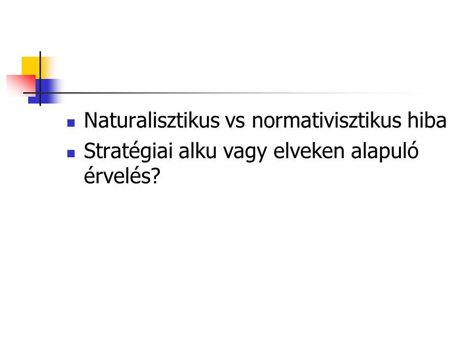  Naturalisztikus vs normativisztikus hiba  Stratégiai alku vagy elveken alapuló érvelés?