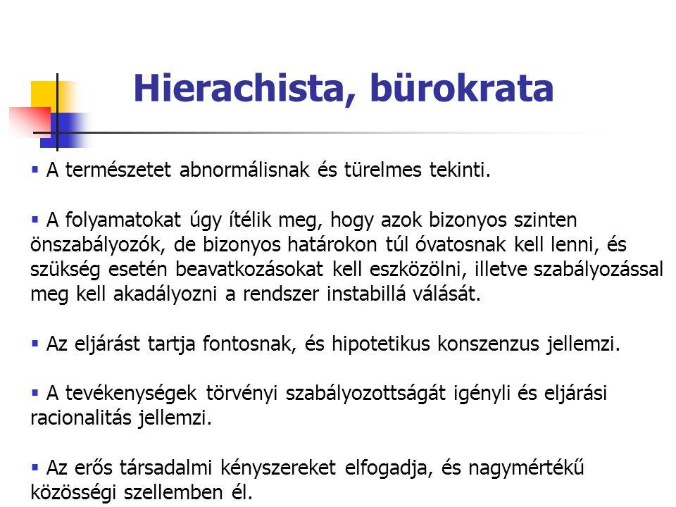 Hierachista, bürokrata  A természetet abnormálisnak és türelmes tekinti.  A folyamatokat úgy ítélik meg, hogy azok bizonyos szinten önszabályozók, d