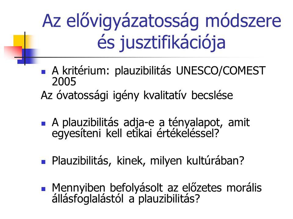 Az elővigyázatosság módszere és jusztifikációja  A kritérium: plauzibilitás UNESCO/COMEST 2005 Az óvatossági igény kvalitatív becslése  A plauzibili