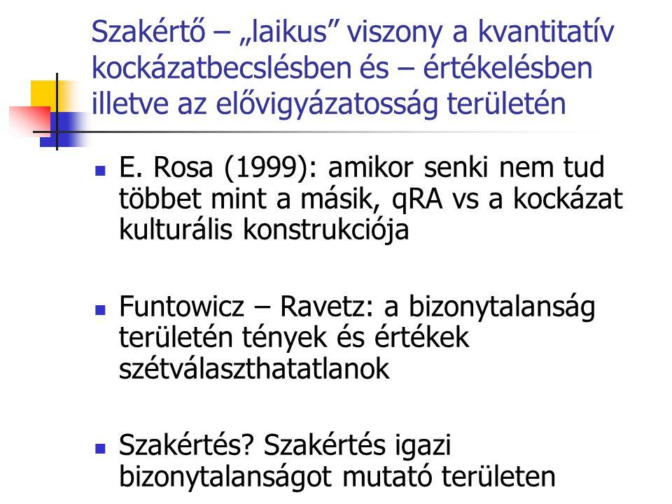 """Szakértő – """"laikus"""" viszony a kvantitatív kockázatbecslésben és – értékelésben illetve az elővigyázatosság területén  E. Rosa (1999): amikor senki ne"""