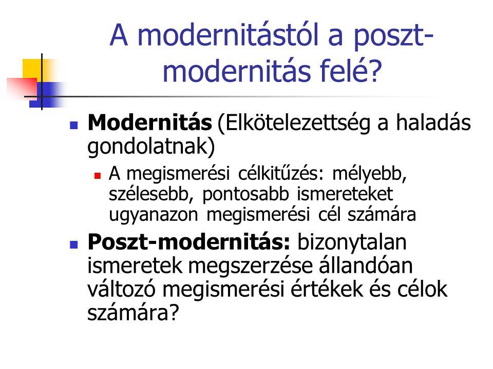 A modernitástól a poszt- modernitás felé?  Modernitás (Elkötelezettség a haladás gondolatnak)  A megismerési célkitűzés: mélyebb, szélesebb, pontosa