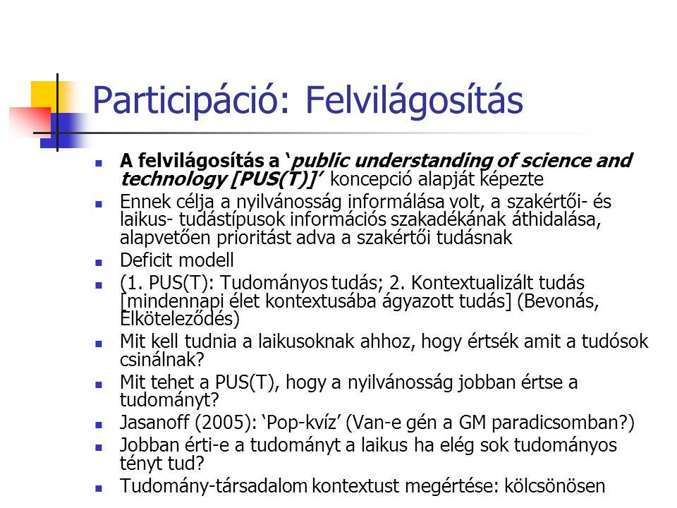 Participáció: Felvilágosítás  A felvilágosítás a 'public understanding of science and technology [PUS(T)]' koncepció alapját képezte  Ennek célja a