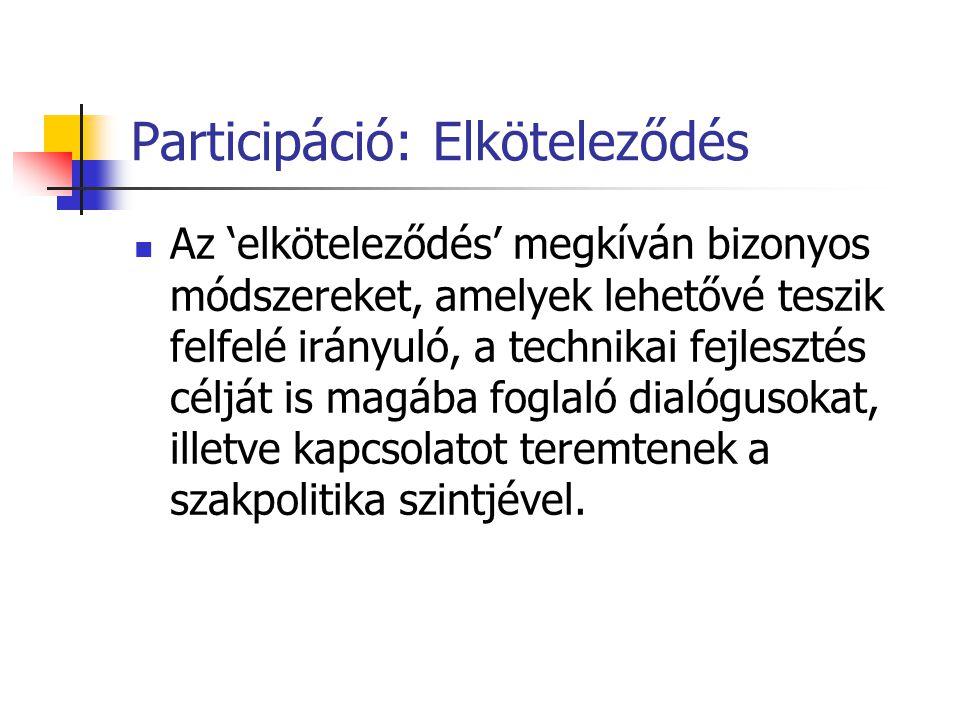 Participáció: Elköteleződés  Az 'elköteleződés' megkíván bizonyos módszereket, amelyek lehetővé teszik felfelé irányuló, a technikai fejlesztés céljá
