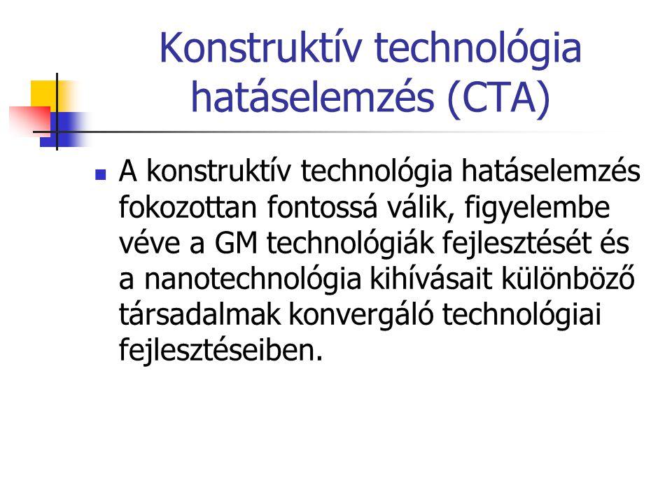 Konstruktív technológia hatáselemzés (CTA)  A konstruktív technológia hatáselemzés fokozottan fontossá válik, figyelembe véve a GM technológiák fejle
