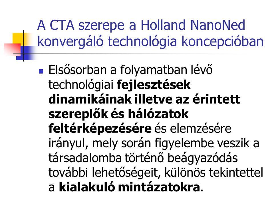 A CTA szerepe a Holland NanoNed konvergáló technológia koncepcióban  Elsősorban a folyamatban lévő technológiai fejlesztések dinamikáinak illetve az