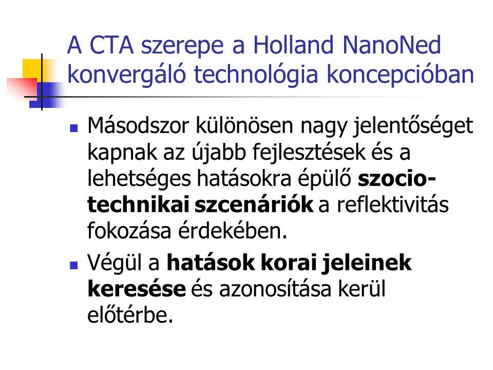 A CTA szerepe a Holland NanoNed konvergáló technológia koncepcióban  Másodszor különösen nagy jelentőséget kapnak az újabb fejlesztések és a lehetség