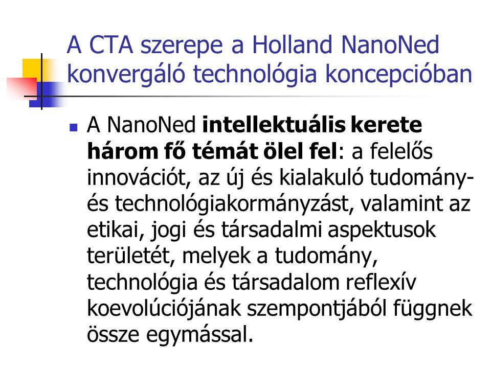A CTA szerepe a Holland NanoNed konvergáló technológia koncepcióban  A NanoNed intellektuális kerete három fő témát ölel fel: a felelős innovációt, a