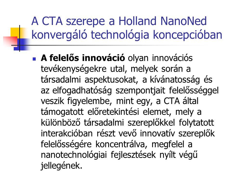 A CTA szerepe a Holland NanoNed konvergáló technológia koncepcióban  A felelős innováció olyan innovációs tevékenységekre utal, melyek során a társad