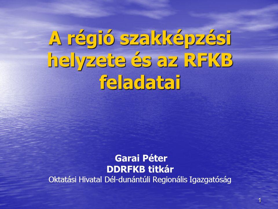 11 A régió szakképzési helyzete és az RFKB feladatai A régió szakképzési helyzete és az RFKB feladatai Garai Péter DDRFKB titkár Oktatási Hivatal Dél-