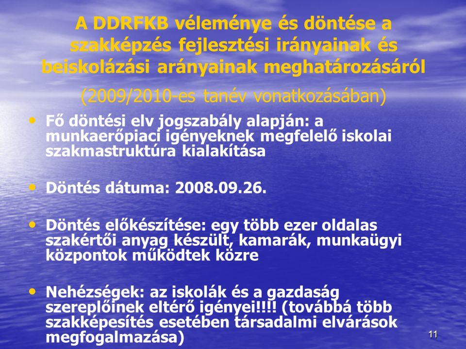 11 A DDRFKB véleménye és döntése a szakképzés fejlesztési irányainak és beiskolázási arányainak meghatározásáról (2009/2010-es tanév vonatkozásában) •