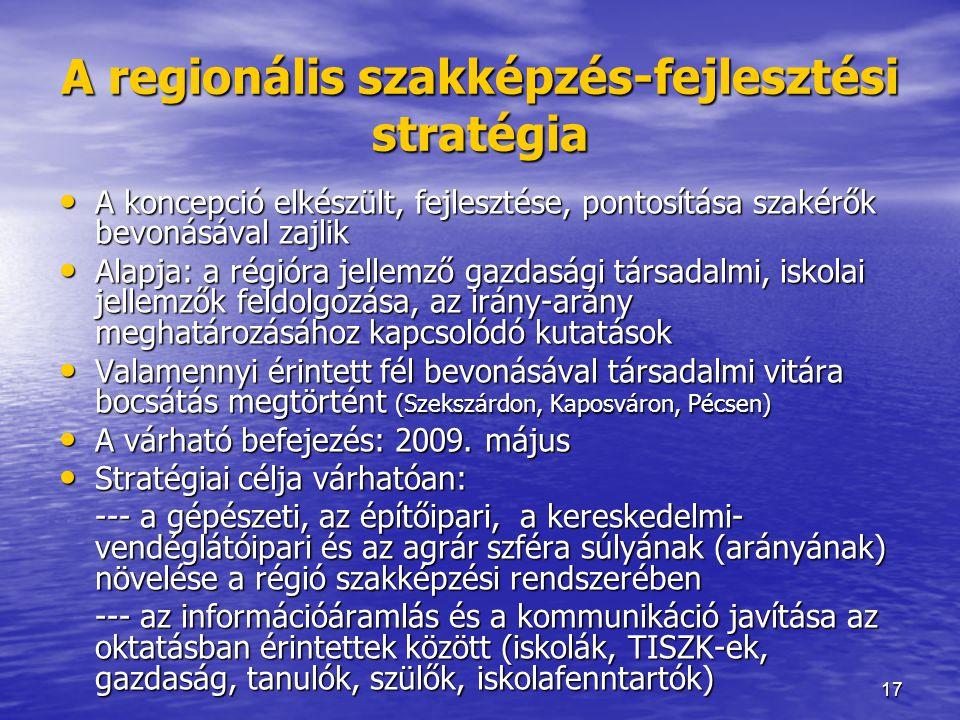 17 A regionális szakképzés-fejlesztési stratégia • A koncepció elkészült, fejlesztése, pontosítása szakérők bevonásával zajlik • Alapja: a régióra jel