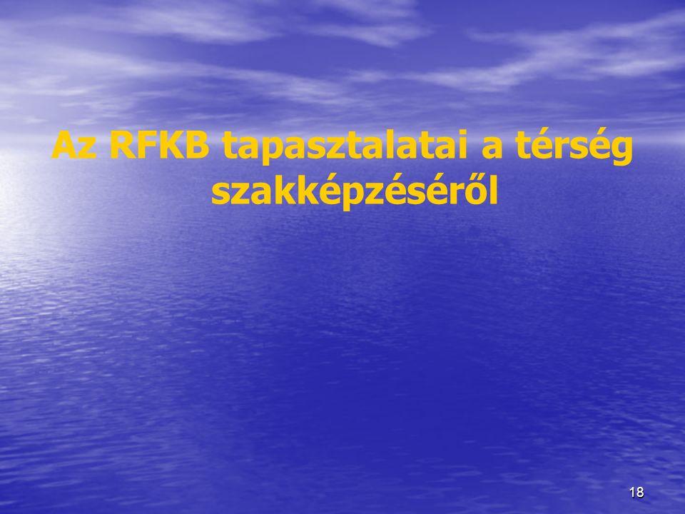 18 Az RFKB tapasztalatai a térség szakképzéséről