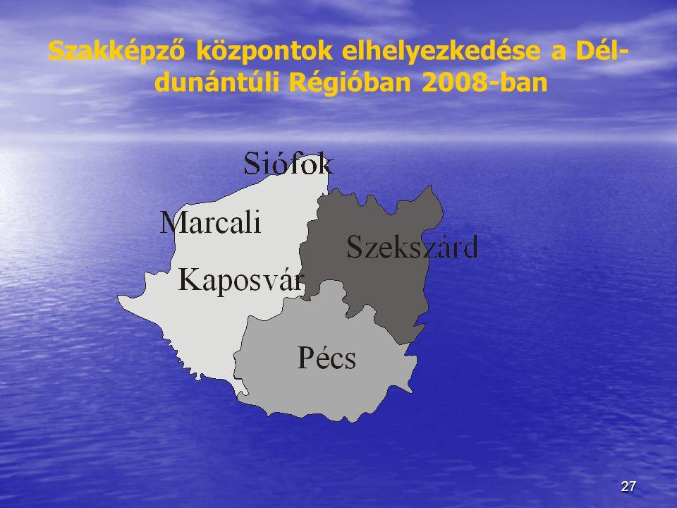 27 Szakképző központok elhelyezkedése a Dél- dunántúli Régióban 2008-ban