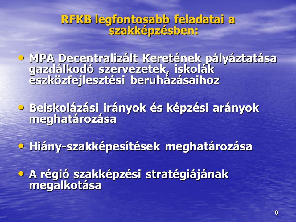 66 RFKB legfontosabb feladatai a szakképzésben: • MPA Decentralizált Keretének pályáztatása gazdálkodó szervezetek, iskolák eszközfejlesztési beruházá