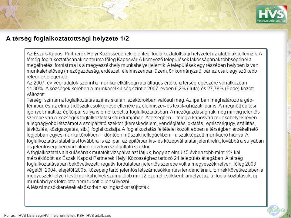 17 Az Észak-Kaposi Partnerek Helyi Közösségének jelenlegi foglalkoztatottsági helyzetét az alábbiak jellemzik.