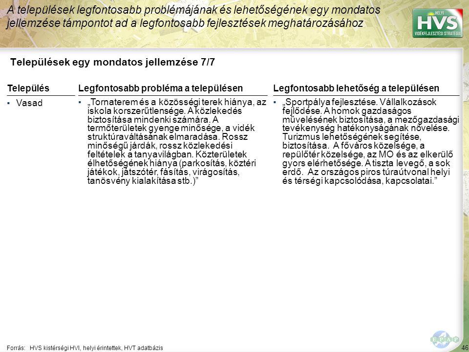 46 Települések egy mondatos jellemzése 7/7 A települések legfontosabb problémájának és lehetőségének egy mondatos jellemzése támpontot ad a legfontosa