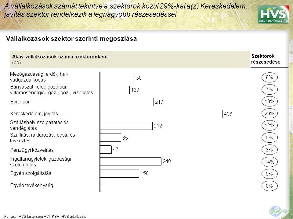 15 Forrás:HVS kistérségi HVI, KSH, HVS adatbázis Vállalkozások szektor szerinti megoszlása A vállalkozások számát tekintve a szektorok közül 29%-kal a(z) Kereskedelem, javítás szektor rendelkezik a legnagyobb részesedéssel Aktív vállalkozások száma szektoronként (db) Mezőgazdaság, erdő-, hal-, vadgazdálkodás Bányászat, feldolgozóipar, villamosenergia-, gáz-, gőz-, vízellátás Építőipar Kereskedelem, javítás Szálláshely-szolgáltatás és vendéglátás Szállítás, raktározás, posta és távközlés Pénzügyi közvetítés Ingatlanügyletek, gazdasági szolgáltatás Egyéb szolgáltatás Egyéb tevékenység Szektorok részesedése 8% 7% 29% 12% 5% 14% 9% 0% 13% 3%