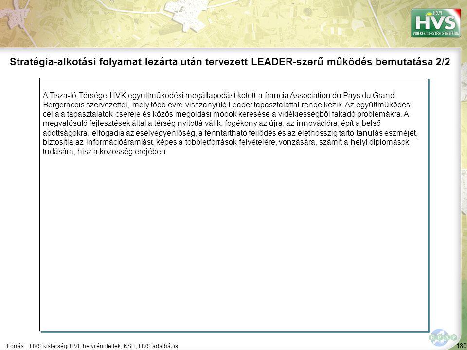 180 A Tisza-tó Térsége HVK együttműködési megállapodást kötött a francia Association du Pays du Grand Bergeracois szervezettel, mely több évre visszan
