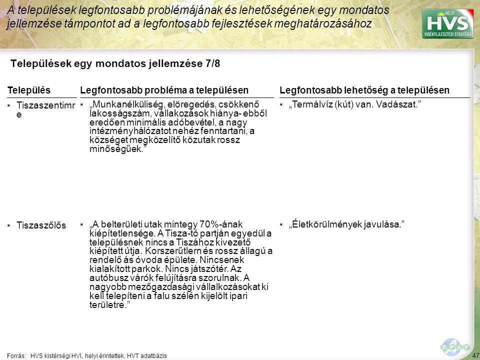 47 Települések egy mondatos jellemzése 7/8 A települések legfontosabb problémájának és lehetőségének egy mondatos jellemzése támpontot ad a legfontosa