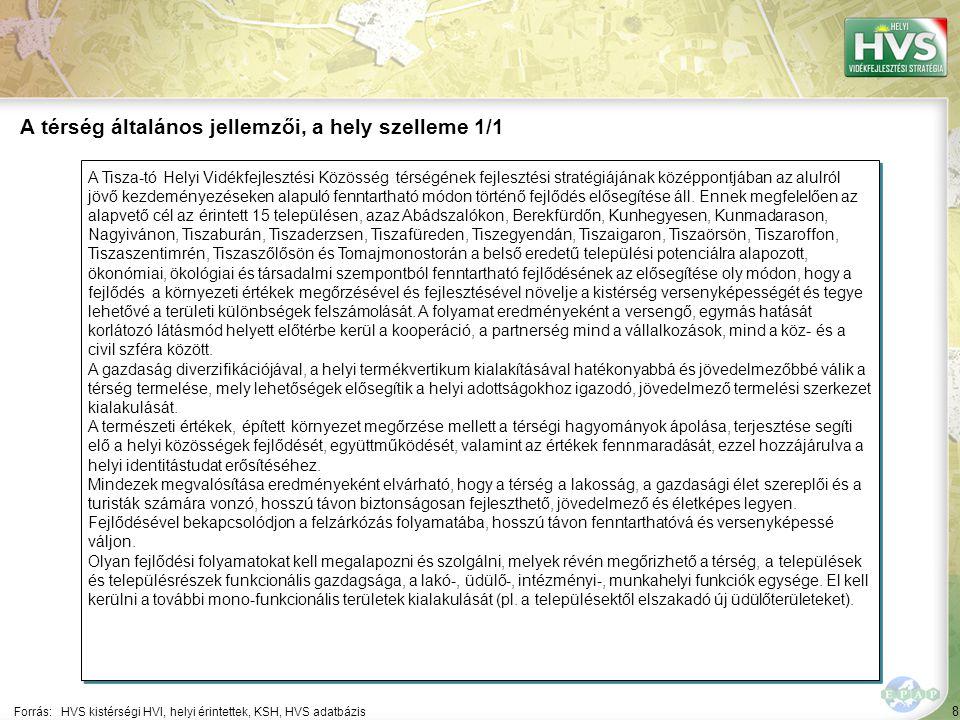8 A Tisza-tó Helyi Vidékfejlesztési Közösség térségének fejlesztési stratégiájának középpontjában az alulról jövő kezdeményezéseken alapuló fenntartha