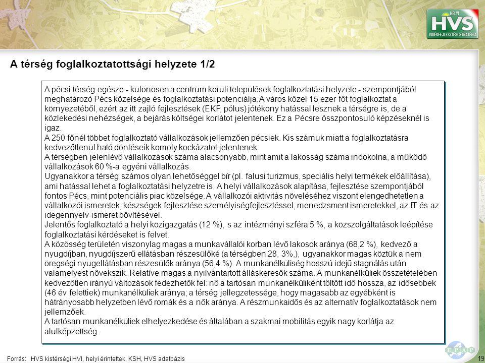 19 A pécsi térség egésze - különösen a centrum körüli települések foglalkoztatási helyzete - szempontjából meghatározó Pécs közelsége és foglalkoztatási potenciálja.