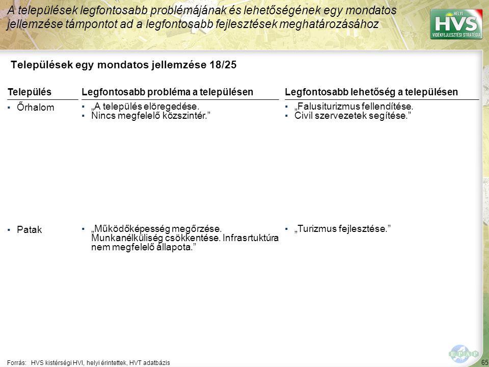 """65 Települések egy mondatos jellemzése 18/25 A települések legfontosabb problémájának és lehetőségének egy mondatos jellemzése támpontot ad a legfontosabb fejlesztések meghatározásához Forrás:HVS kistérségi HVI, helyi érintettek, HVT adatbázis TelepülésLegfontosabb probléma a településen ▪Őrhalom ▪""""A település elöregedése."""