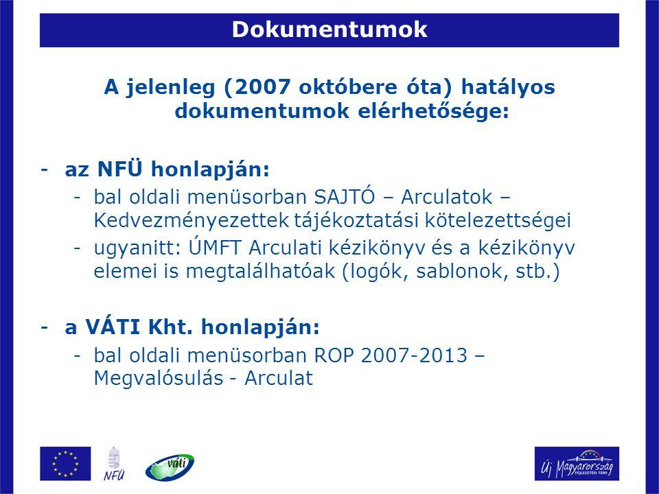 Dokumentumok A jelenleg (2007 októbere óta) hatályos dokumentumok elérhetősége: -az NFÜ honlapján: -bal oldali menüsorban SAJTÓ – Arculatok – Kedvezmé