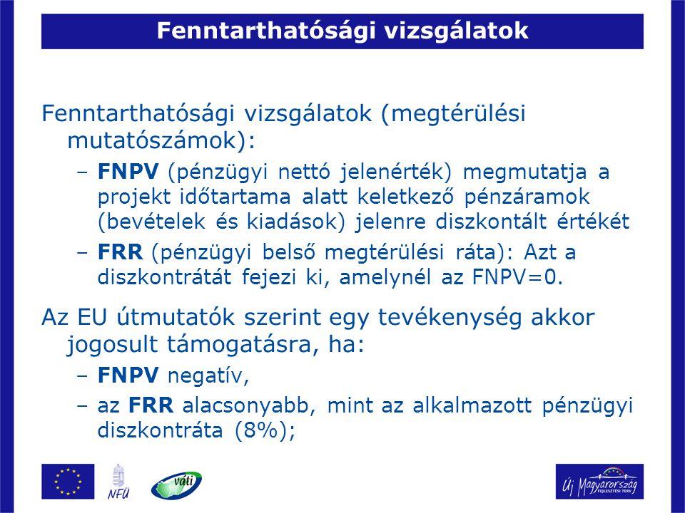Fenntarthatósági vizsgálatok Fenntarthatósági vizsgálatok (megtérülési mutatószámok): –FNPV (pénzügyi nettó jelenérték) megmutatja a projekt időtartam
