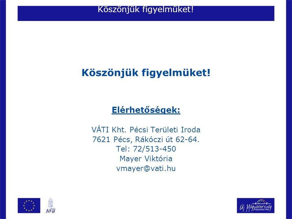Köszönjük figyelmüket! Elérhetőségek: VÁTI Kht. Pécsi Területi Iroda 7621 Pécs, Rákóczi út 62-64. Tel: 72/513-450 Mayer Viktória vmayer@vati.hu