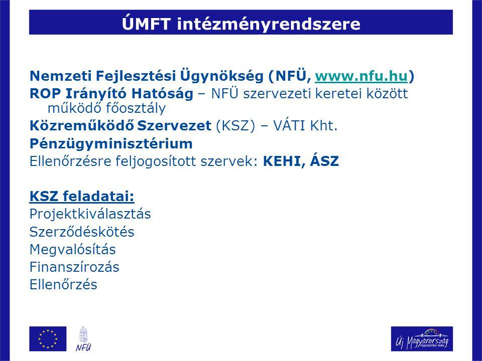 ÚMFT intézményrendszere Nemzeti Fejlesztési Ügynökség (NFÜ, www.nfu.hu)www.nfu.hu ROP Irányító Hatóság – NFÜ szervezeti keretei között működő főosztál