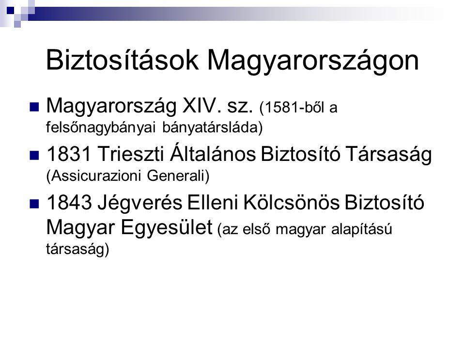 Biztosítások Magyarországon  Magyarország XIV. sz. (1581-ből a felsőnagybányai bányatársláda)  1831 Trieszti Általános Biztosító Társaság (Assicuraz