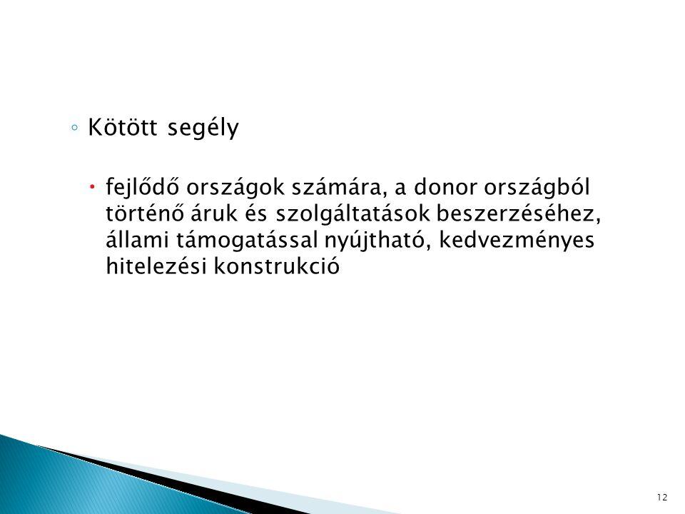 ◦ Kötött segély  fejlődő országok számára, a donor országból történő áruk és szolgáltatások beszerzéséhez, állami támogatással nyújtható, kedvezménye