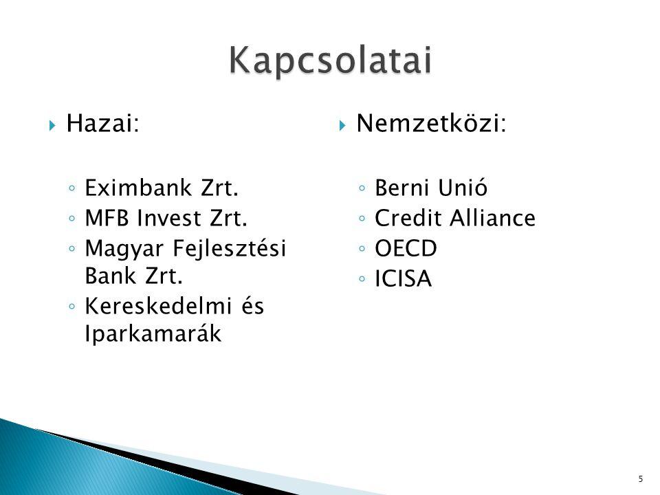  Hazai: ◦ Eximbank Zrt. ◦ MFB Invest Zrt. ◦ Magyar Fejlesztési Bank Zrt. ◦ Kereskedelmi és Iparkamarák  Nemzetközi: ◦ Berni Unió ◦ Credit Alliance ◦