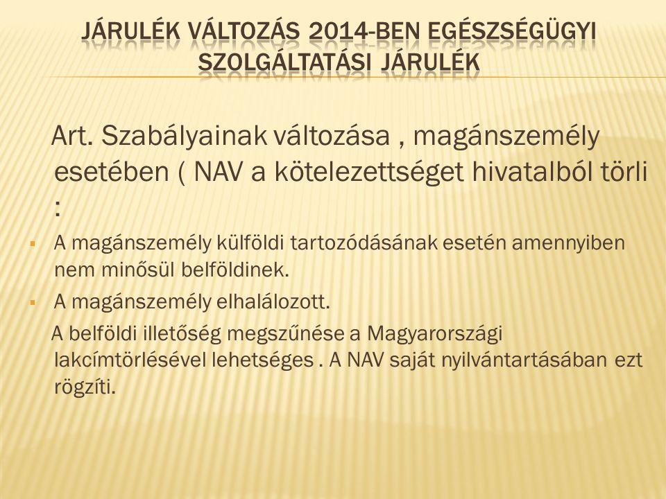 Art. Szabályainak változása, magánszemély esetében ( NAV a kötelezettséget hivatalból törli :  A magánszemély külföldi tartozódásának esetén amennyib