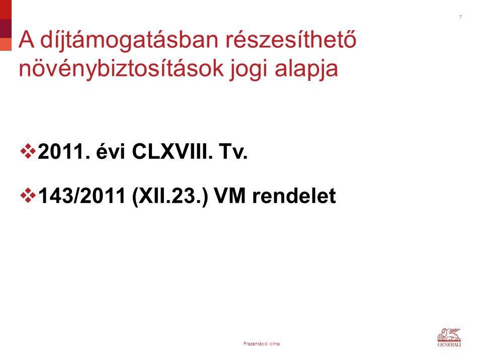 7  2011. évi CLXVIII. Tv.  143/2011 (XII.23.) VM rendelet A díjtámogatásban részesíthető növénybiztosítások jogi alapja