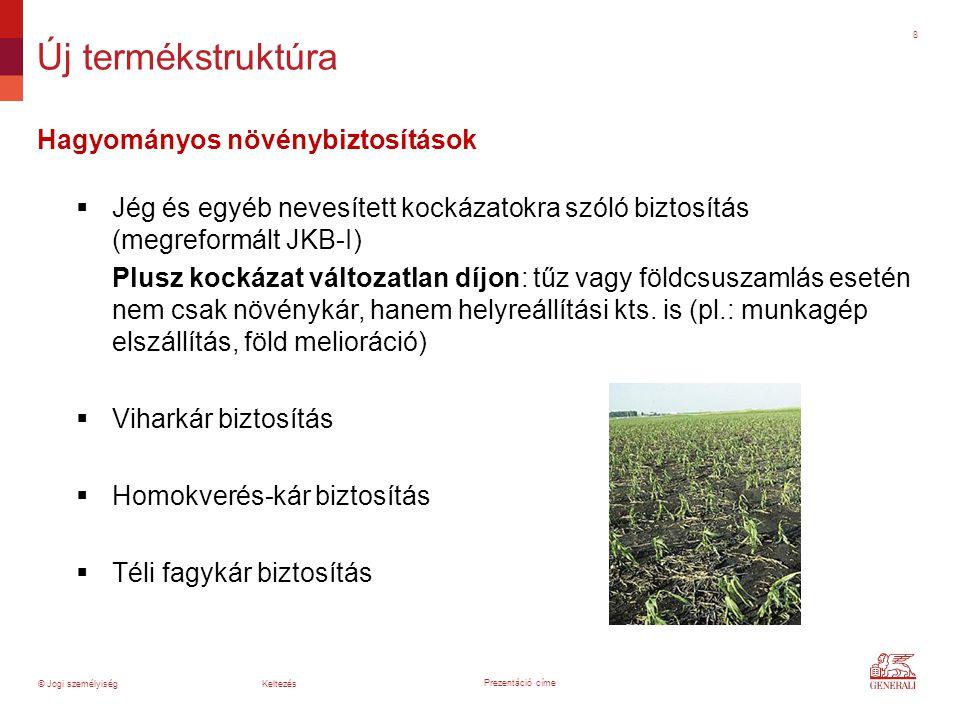 8 Hagyományos növénybiztosítások  Jég és egyéb nevesített kockázatokra szóló biztosítás (megreformált JKB-I) Plusz kockázat változatlan díjon: tűz va